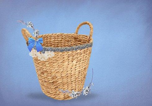 Basket, Wicker Basket, Digital Background, Wicker, Bow