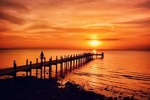 Sunset, Boardwalk, Beach, Woman, Silhouettes, Jetty