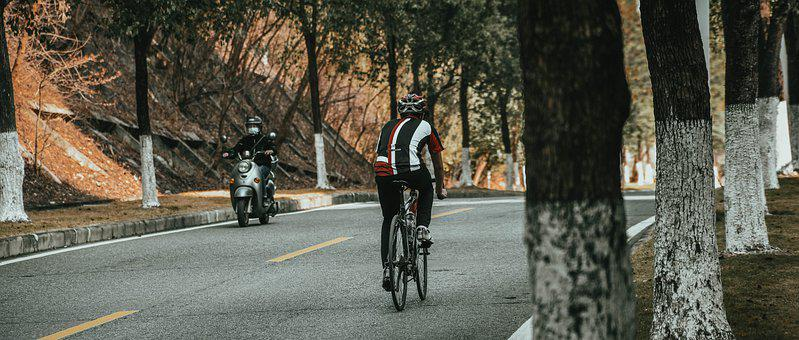 Men, Bicycle, Run, Motorcycle, Scooter, Vehicles, Bike