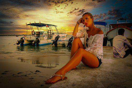 Woman, Beach, Ocean, Boat, Shore, Model, Feminine