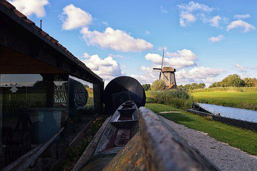 Barn, Windmill, Netherlands, Building, Clouds