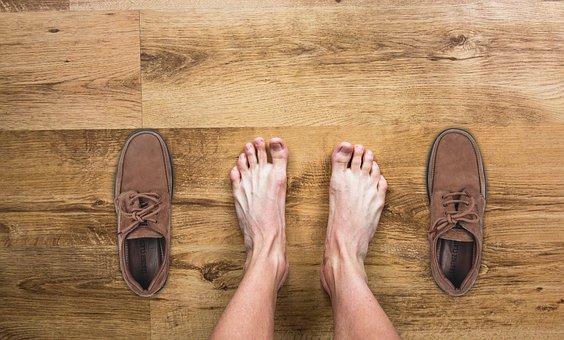 Man, Barefoot, Feet, Shoes, Floor, Wooden Floor