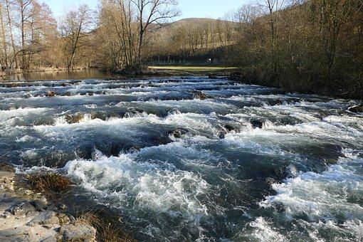 Water, Flow, Rapids, Weir, Millrace, Belrieth, Werra