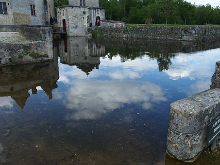 Water Mirror, Chateau, Castle, France, Reflection