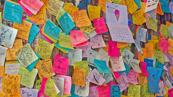 Sticky Notes, Connecting, Fun, Writing, Blue, Pink