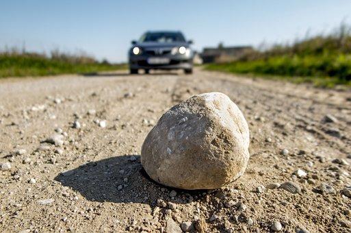 Road, Stone, Car, Ground, Street, Danger