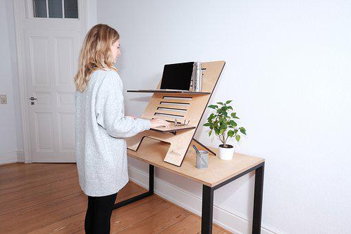 Home Office, Standing Desk, Online Meeting, Listen To