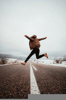 Person, Jump, Road, Street, Snow, Cold, Winter, Jumping