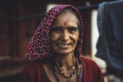 Female, Indian, Woman, Lady, Old, Adult, Elderly, Happy