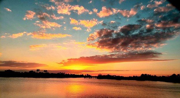 Sunset, Clouds, Landscape, Silhouettes, Sky, Lake, Sun