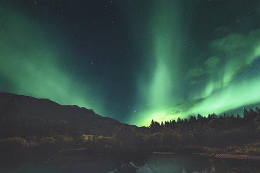 Aurora Borealis, Mountains, Lake, Trees, Conifers