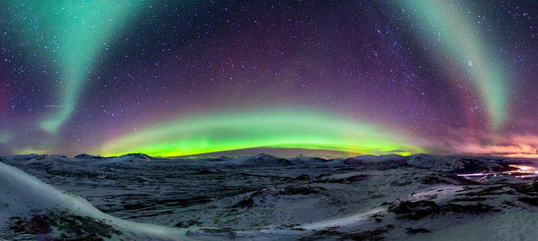 Panorama, Northern Lights, Norway, Sky, Landscape