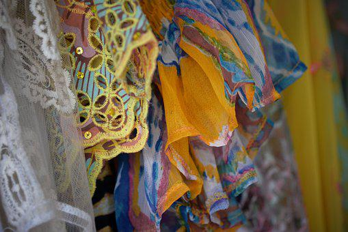Frilly, Fabric, Lace, Textiles, Yellow, Mode