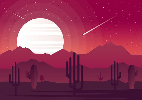 Cacti, Mountains, Night Sky, Plants, Red Moon, Moon