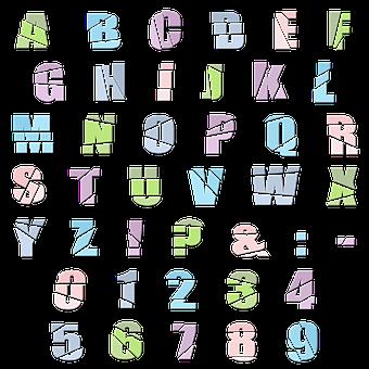 Alpha, Alphabet, Letters, Numbers, Broken, Colorful