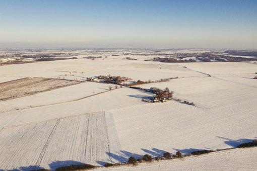 Winter, Drone, Aerial, Snow, Poland, Europe, Village