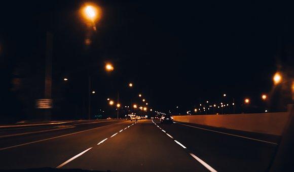 Night, Road, Drive, Highway, Traffic