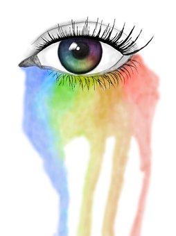 Eye, Beautiful, Rainbow, Creative, Paint, Color, Sad