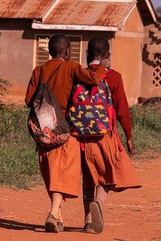 Friends, Students, Africa, Walking, School Children
