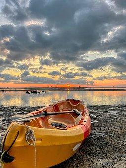 Boat, Coast, Sunset, Sea, Beach, Coastline, Seashore
