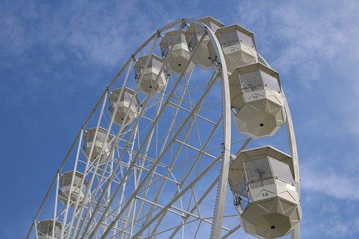 Ferris Wheel, Amusement Ride, Sky, Cabins, High