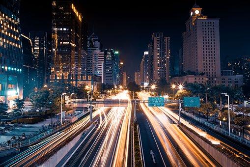 Buildings, Traffic, City, City Lights, Skyline