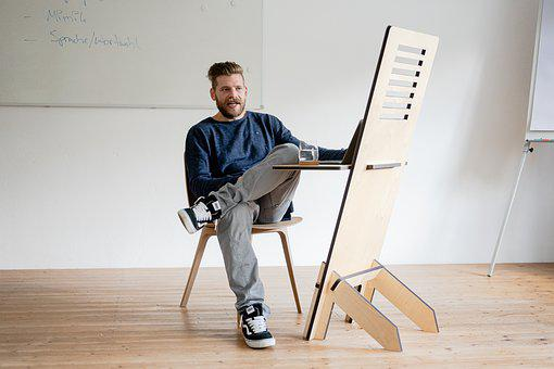 Man, Standing Desk, Home Office, Sitting