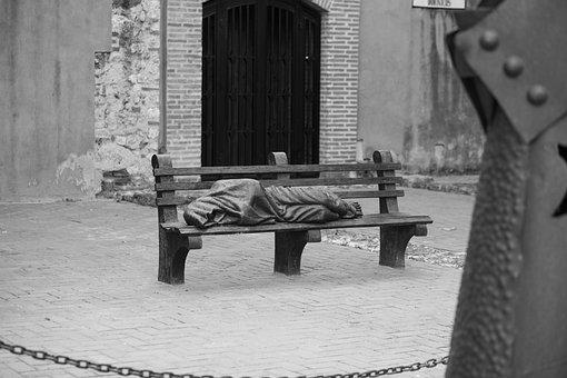 Statue, Sleeping Man, Bench, Cathedral, History