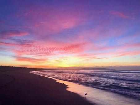 Beach, Sea, Sunrise, Dawn, Sunlight, Morning, Sky