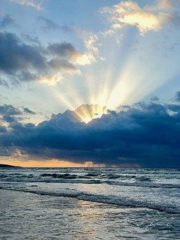 Sunrise, Clouds, Beach, Sea, Ocean, Horizon, Sunset