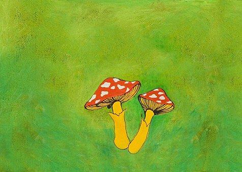 Mushrooms, Fly Agaric, Painting, Amanita, Toadstools