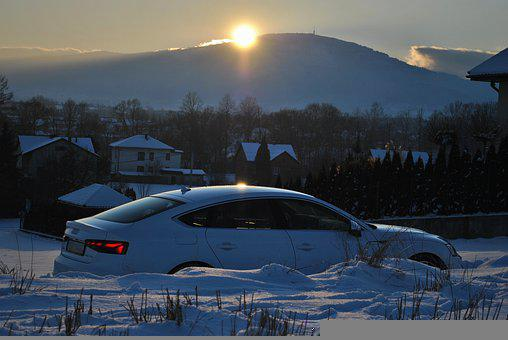 Sunset, Car, Winter, Snow, Street, Houses, Town