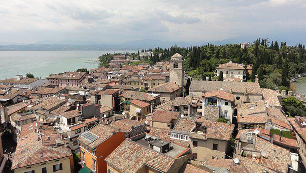 Village, Lake, Italy, Garda, Roofs, Building