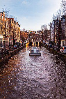 Boat, Canal, Amsterdam, River Boat, Waterway
