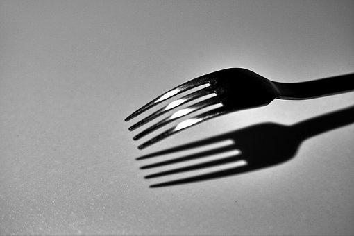 Fork, Black White, Artwork, Eat, White, Cutlery