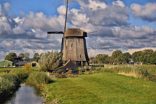 Windmill, Field, Netherlands, Canal, Waterway