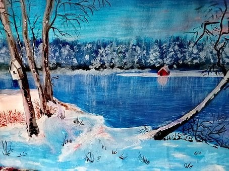 Winter, Landscape, Nature, Painting