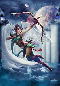 Woman, Archer, Fantasy, Female, Angel, Battle, Space