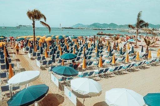 Beach, Resort, Folding Chairs, People, Tourists, Summer