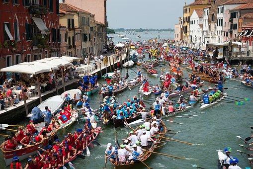 Boat Race, Canal, Venice, Regata Storica, Boats, Rowing