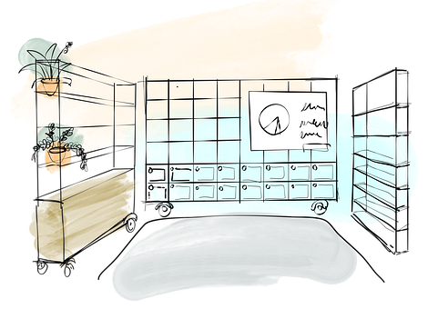Office, Interior, Sketch, Cabinet, Room, Plants, Shelf