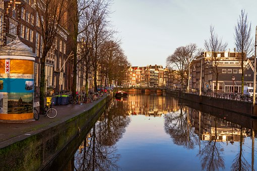 Canal, Buildings, City, Waterway, Water, River