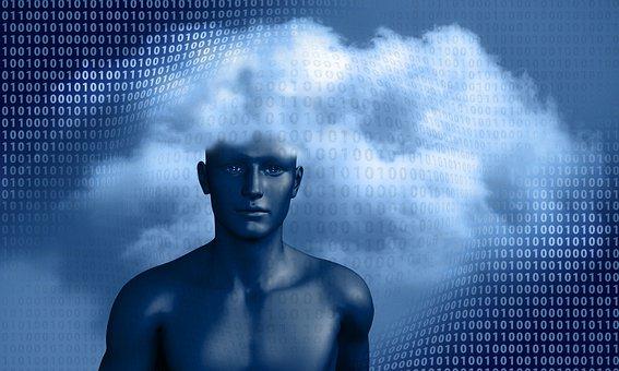 Man, Display Dummy, Binary, Code, Cloud, Circuit