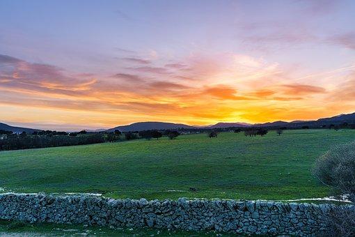 Sunset, Field, Hill, Wall, Stone Wall, Meadow