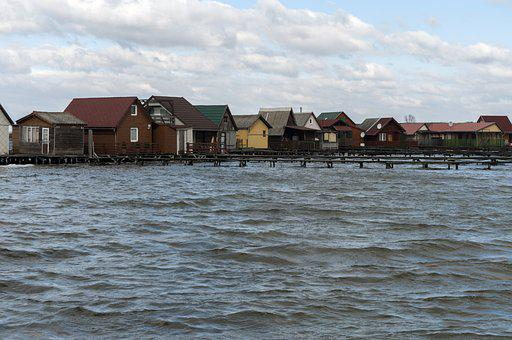 Houses, Pier, Village, Lake, Bokodi Lake