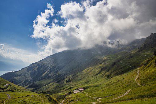 Mountains, Trail, Landscape, Road, Mountain Slope