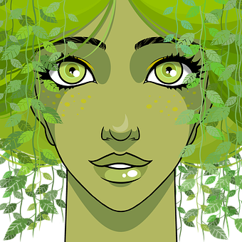Woman, Leaves, Dryad, Face, Green Eyes, Spring, Fantasy