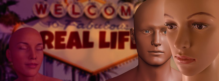Mannequins, Virtual Reality, Faces, Heads, Scene