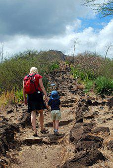 Mother, Son, Path, Hill, Walking, Volcano, Nature