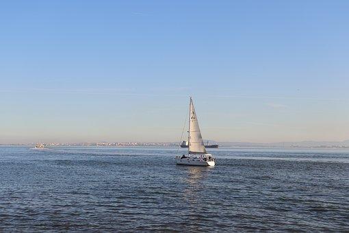 Blue, Sky, Boat, Water, Sunset, Ocean, Nature, Travel